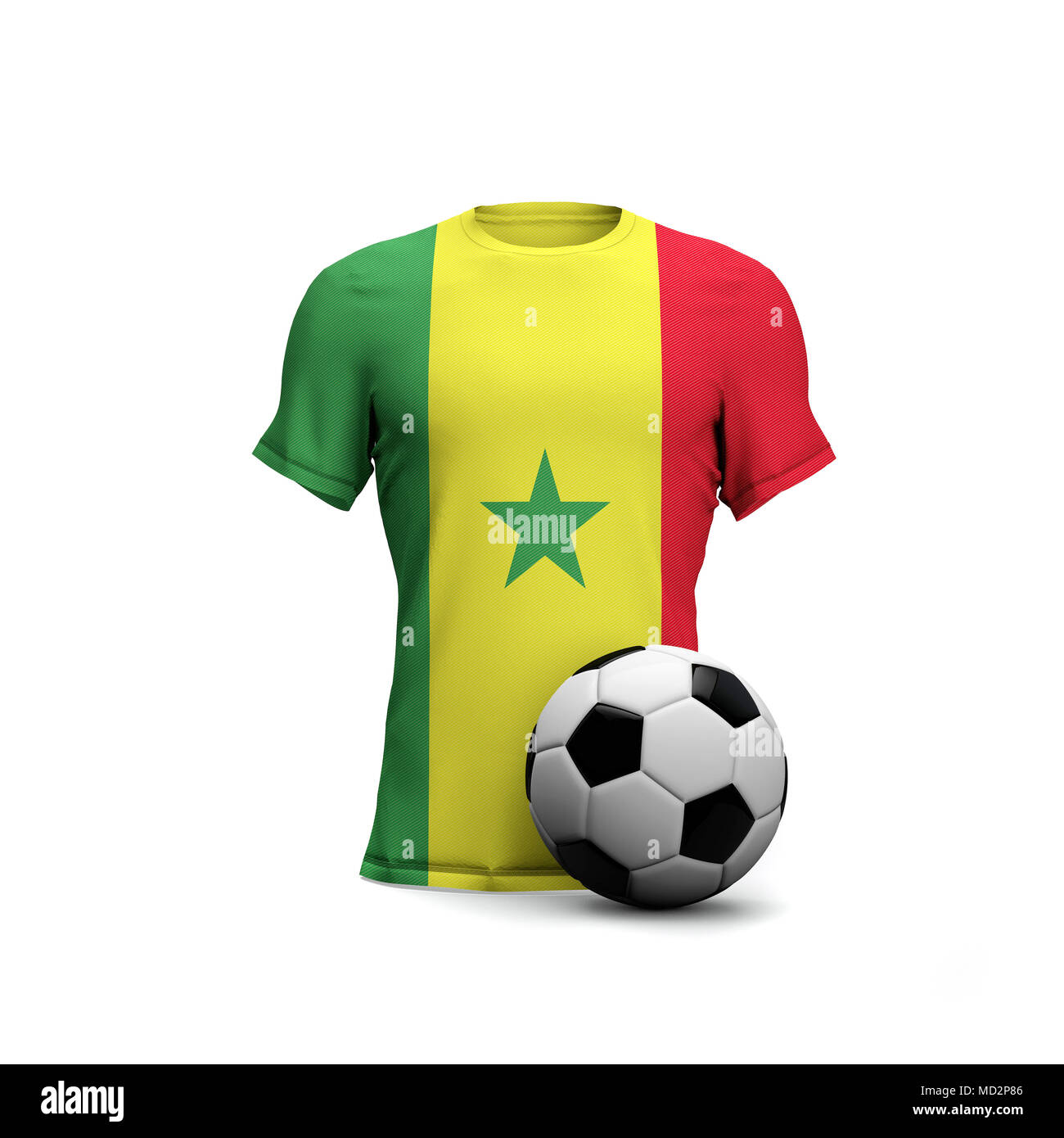 official photos cc585 a1cb9 Senegal soccer shirt with national flag and football ball ...