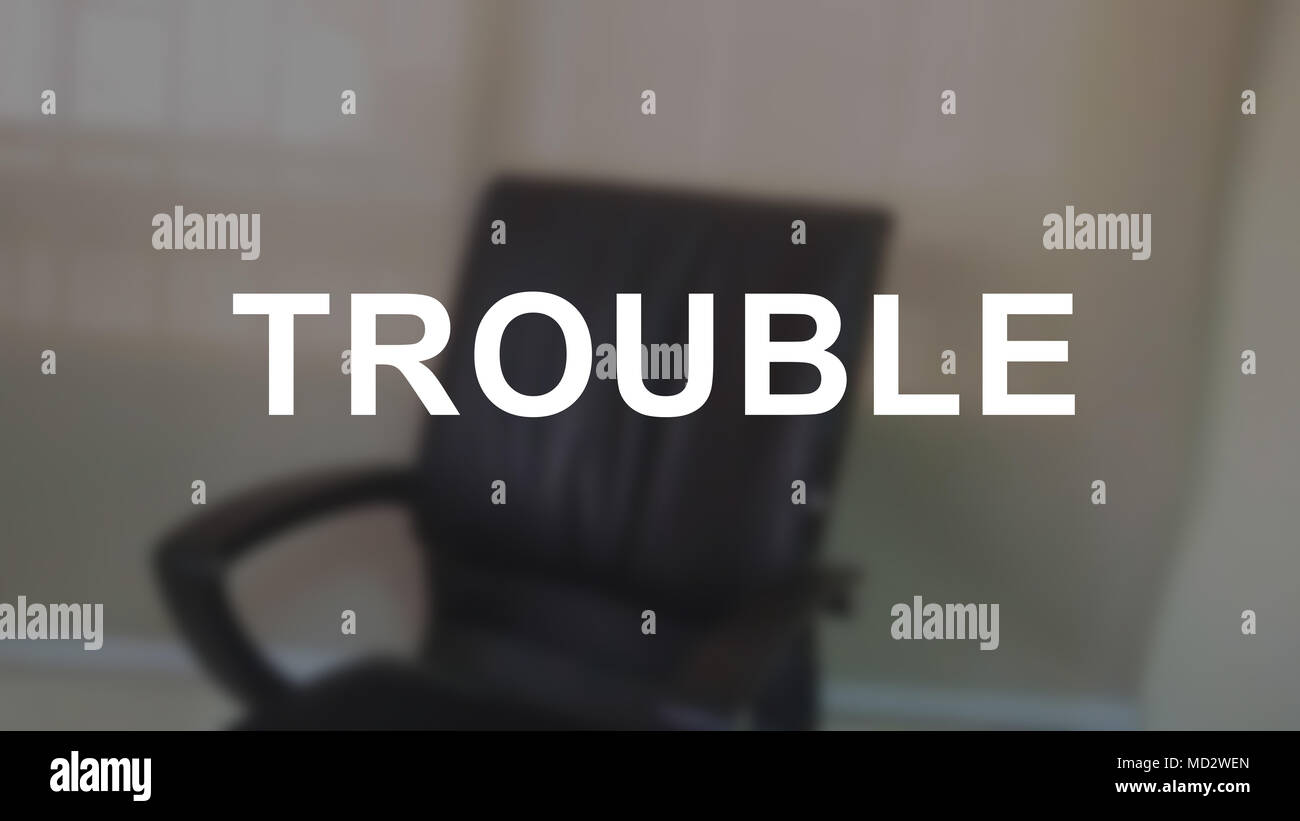 Trouble word with blurring business background - Stock Image