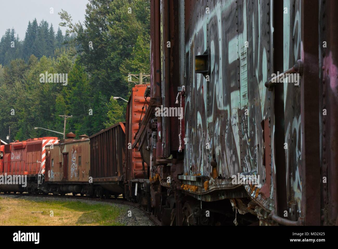 Rusty Old Abandoned Freight Train Stock Photos & Rusty Old