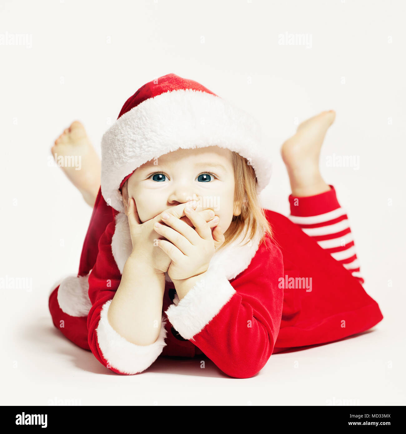 b0710fe62d5 Happy Baby in Santa Hat. Infant Child Laughing Stock Photo ...
