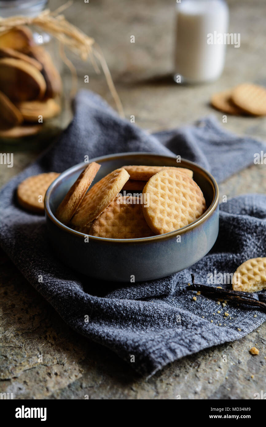 Traditional sweet fresh baked vanilla butter biscuits - Stock Image