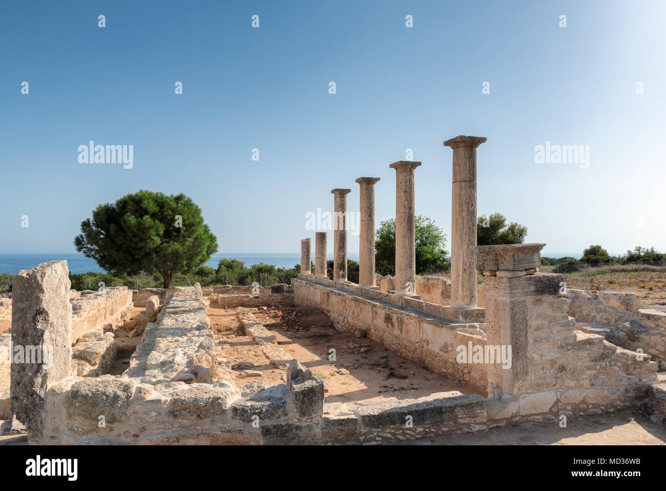 Sunset at Ancient Columns of Apollo Temple ruins, Limassol District. Cyprus. - Stock Image