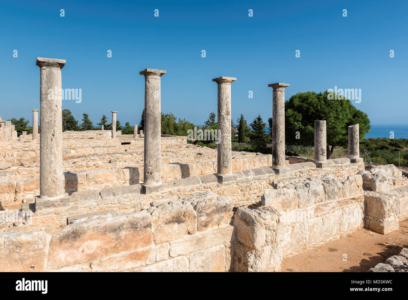 Ancient Columns of Apollo Temple ruins, Limassol District. Cyprus. - Stock Image