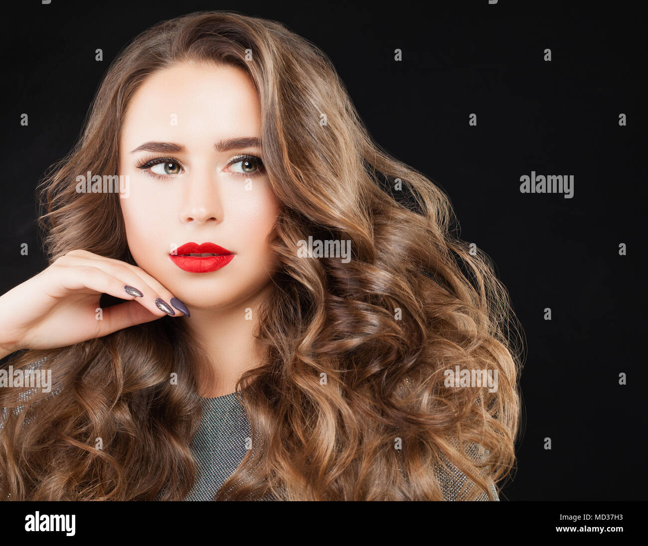 Beauty Fashion Portrait of Cute Girl with Makeup on Black Background on Black Banner Background Stock Photo