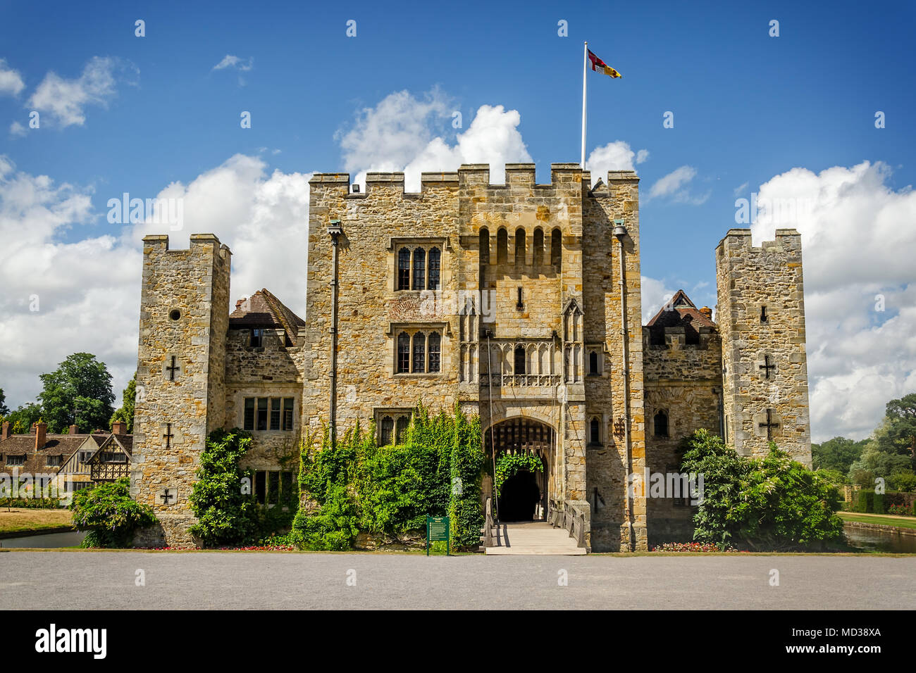Hever Castle, United Kingdom - June 18, 2015: Panoramic view of Hever Castle and it's beautiful garden and once the childhood home of Anne Boleyn. - Stock Image
