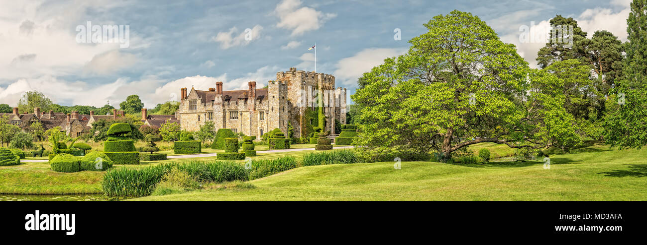 Hever, Kent, England - June 18, 2015. Hever castle as seen on 18 of June, 2015. The oldest part of the castle dates to 1270 and in 1462 it was convert - Stock Image