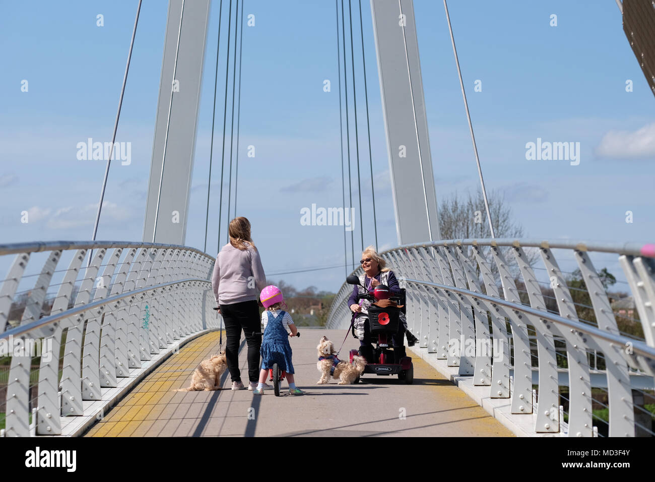 Hereford, Herefordshire - April 2018  - Pedestrians and dog walkers stop for a chat on the modern Hereford Greenway bridge over the River Wye that links Hereford city with Rotherwas, a Sustrans project. Photo Steven May / Alamy Live News Stock Photo