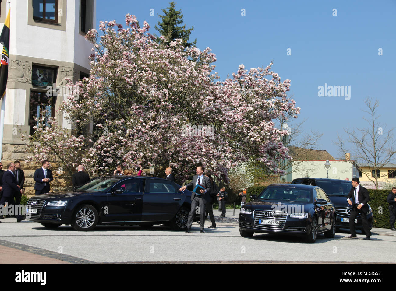 Bad Schmiedeberg, Germany - April 18, 2018: German Chancellor Angela Merkel arrives in Bad Schmiedeberg for the conference of East German Prime Ministers. Credit: Mattis Kaminer/Alamy Live News - Stock Image