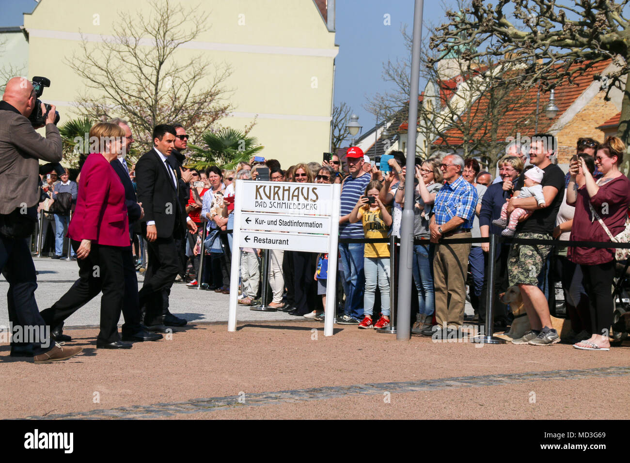 Bad Schmiedeberg, Germany - April 18, 2018: German Chancellor Angela Merkel approaches residents of Bad Schmiedeberg spontaneously. It is greeted with cheers, something that has not been seen in any East German city for a long time. Credit: Mattis Kaminer/Alamy Live News - Stock Image