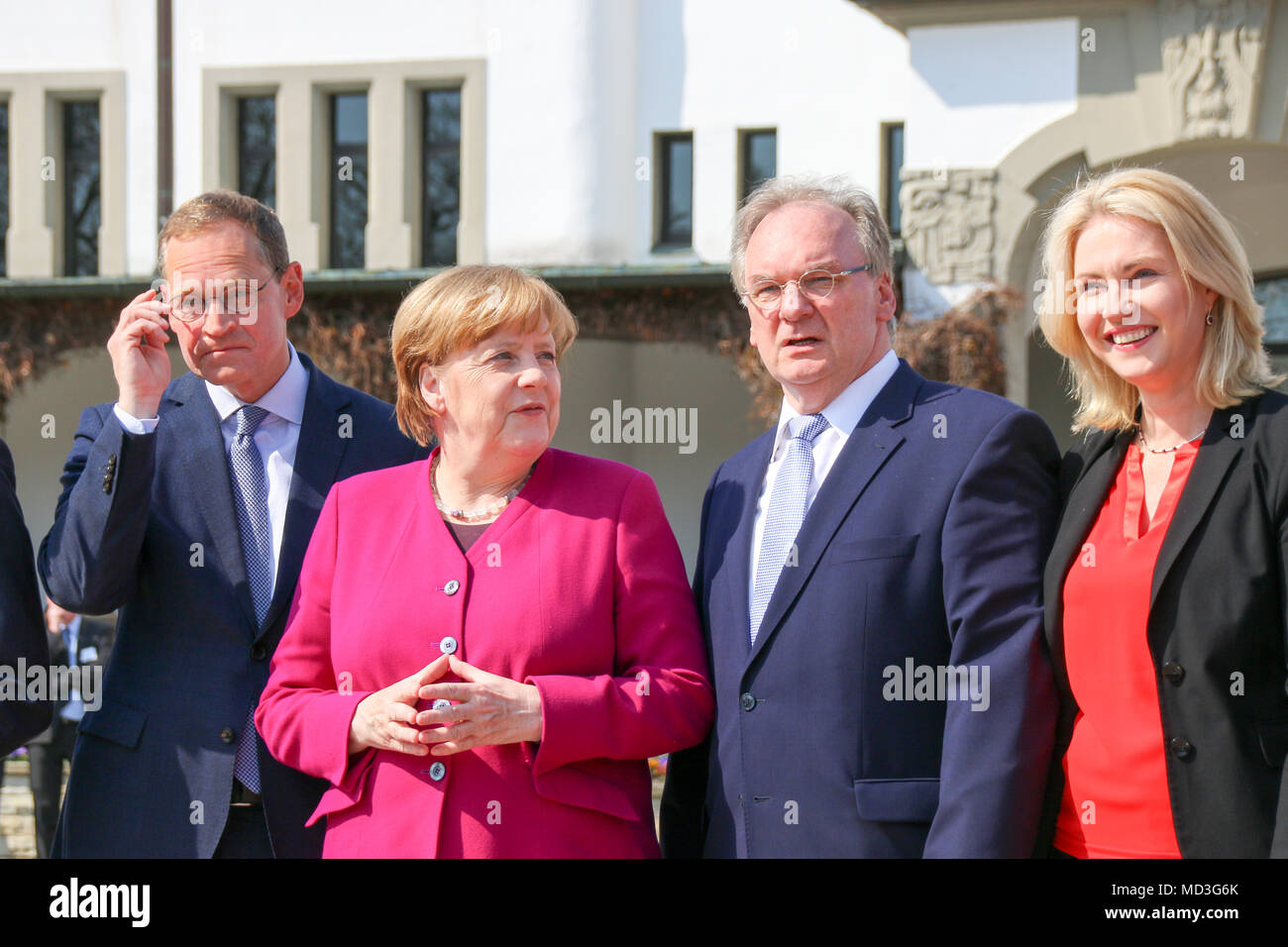 Bad Schmiedeberg, Germany - April 18, 2018: German Chancellor Angela Merkel has Saxony-Anhalt's Prime Minister Reiner Haseloff explain the city of Bad Schmiedeberg to her. The East German prime ministers are meeting in the spa town. Credit: Mattis Kaminer/Alamy Live News - Stock Image