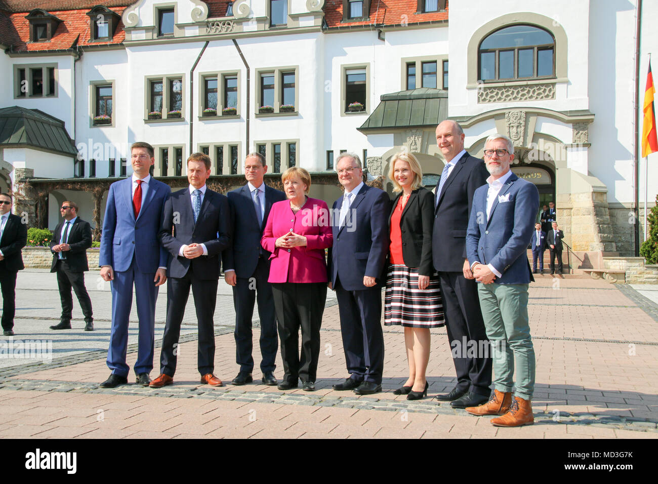 Bad Schmiedeberg, Germany - April 18, 2018: Group photo of the East German Prime Ministers with German Chancellor Angela Merkel in Bad Schmiedeberg, Saxony-Anhalt. Credit: Mattis Kaminer/Alamy Live News - Stock Image