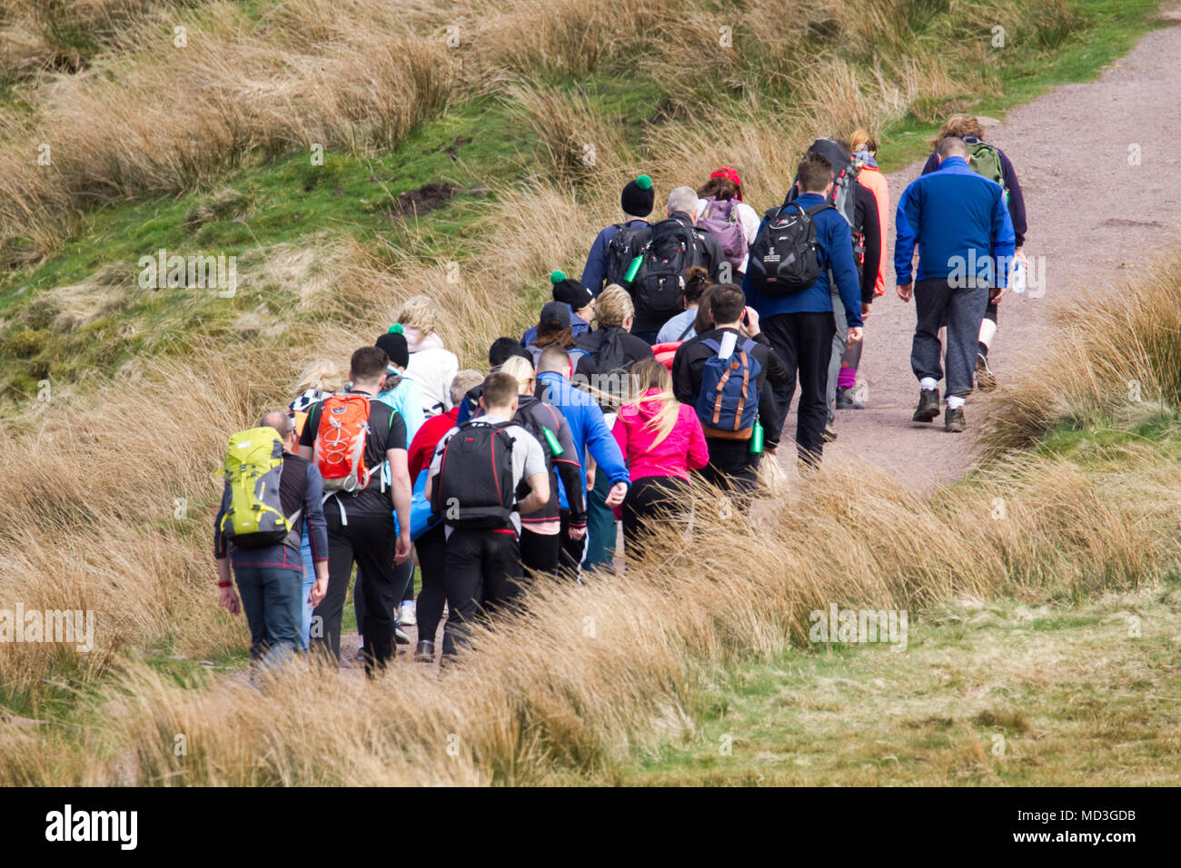 Brecon Beacons, South Wales, UK.  18 April 2018.  UK weather: People enjoy the sunny weather today on the walk to Pen-Y-Fan.  Credit: Andrew Bartlett/Alamy Live News - Stock Image
