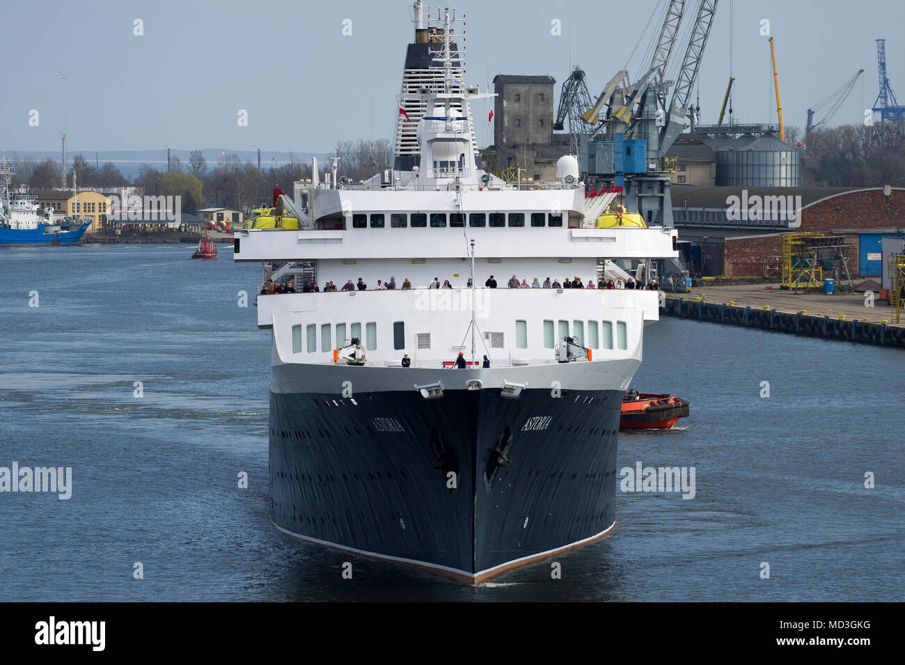Gdansk, Poland. 18th April 2018. 160 meter long cruise ship MV Astoria started cruising season in Gdansk harbour in Gdansk, Poland. April 18th 2018. Built in 1948 as Stockholm is the oldest cruise ship in the world. Known for causing sea crash with famous Andrea Doria line ship in 1956 causing its sunk © Wojciech Strozyk / Alamy News Live Stock Photo