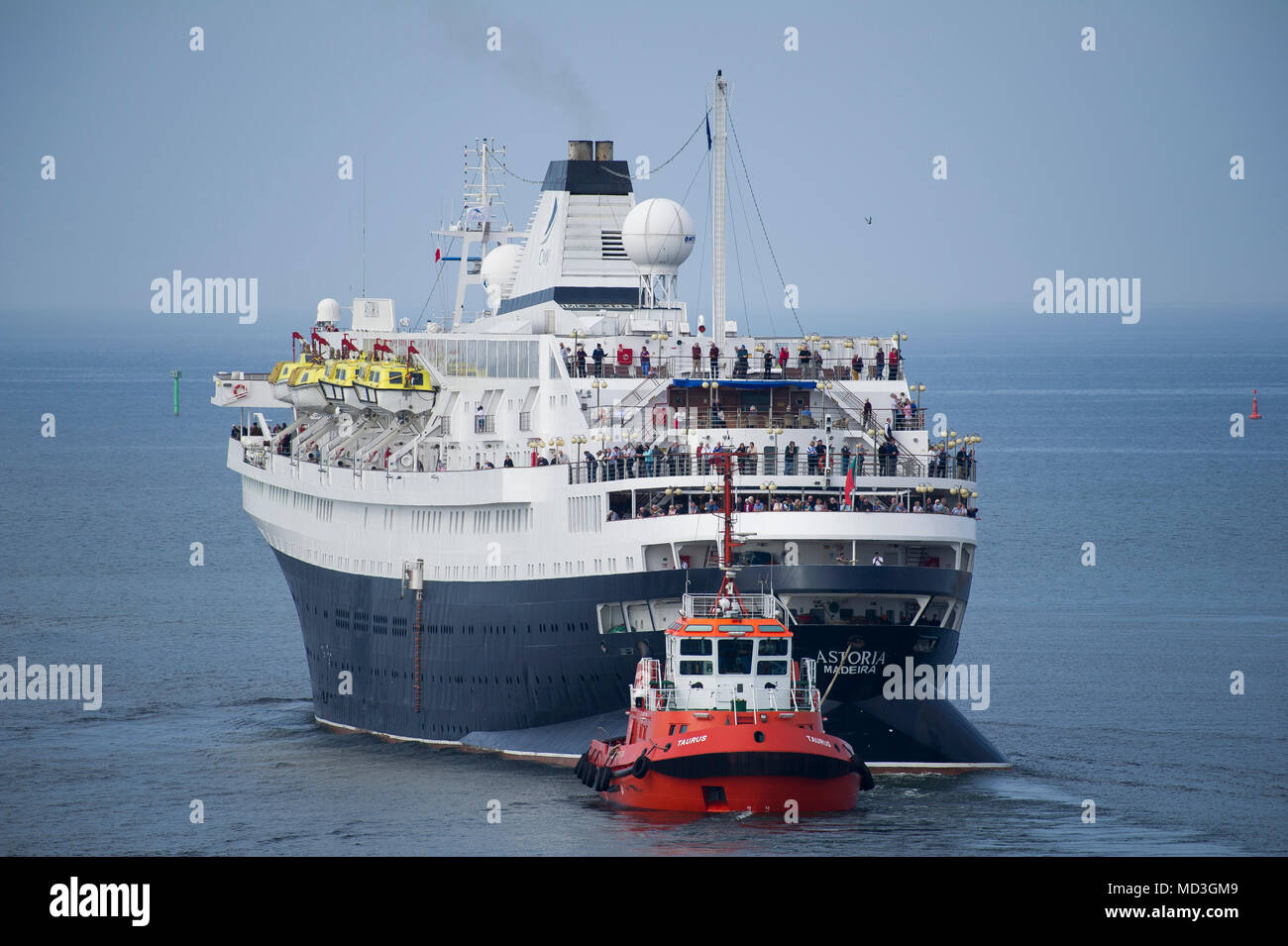 Gdansk, Poland. 18th April 2018. 160 meter long cruise ship MV Astoria started cruising season in Gdansk harbour in Gdansk, Poland. April 18th 2018. Built in 1948 as Stockholm is the oldest cruise ship in the world. Known for causing sea crash with famous Andrea Doria line ship in 1956 causing its sunk © Wojciech Strozyk / Alamy News Live - Stock Image
