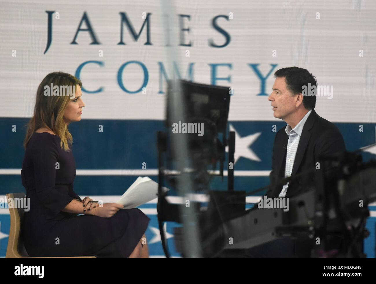 New York, NY, USA. 18th Apr, 2018. Savannah Guthrie, James Comey, the former Director of the FBI, appears on The Today Show to promote his book: A Higher Loyalty: Truth, Lies, and Leadership out and about for Celebrity Candids - WED, New York, NY April 18, 2018. Credit: Derek Storm/Everett Collection/Alamy Live News - Stock Image