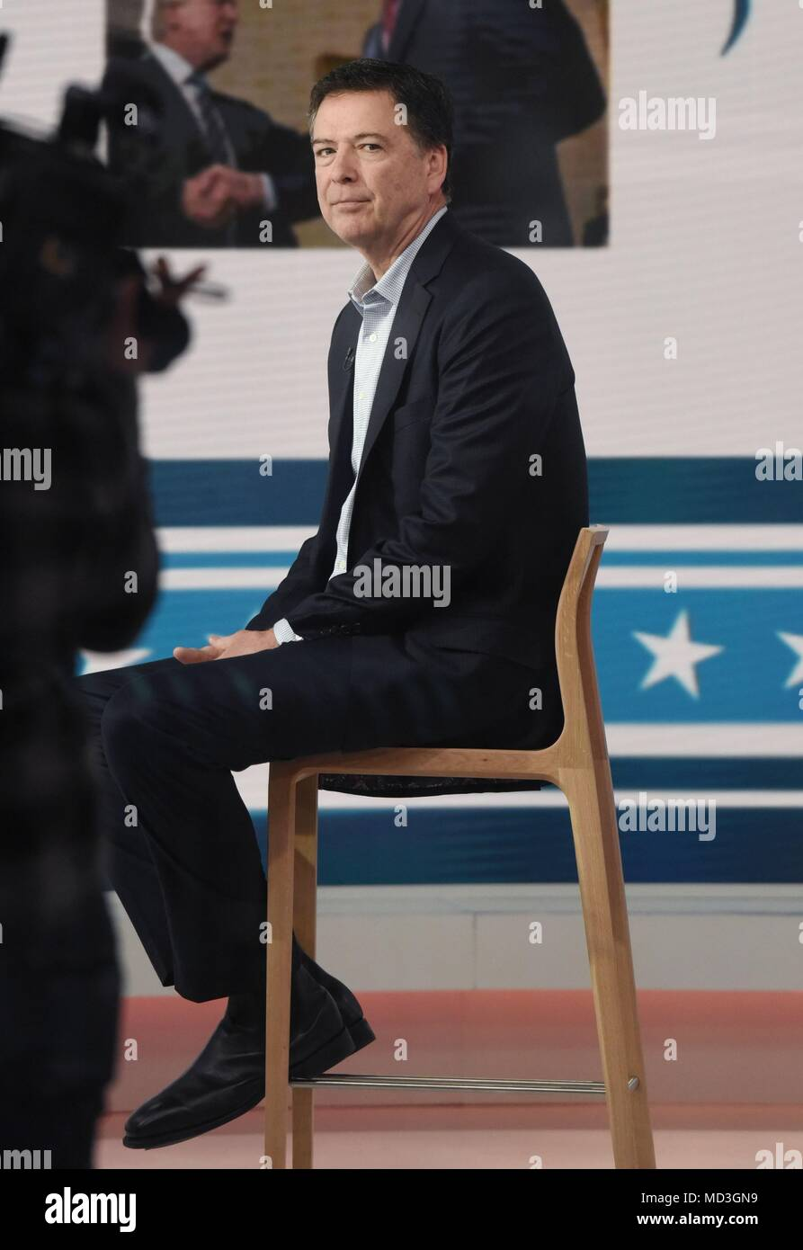 New York, NY, USA. 18th Apr, 2018. James Comey, the former Director of the FBI, appears on The Today Show to promote his book: A Higher Loyalty: Truth, Lies, and Leadership out and about for Celebrity Candids - WED, New York, NY April 18, 2018. Credit: Derek Storm/Everett Collection/Alamy Live News - Stock Image