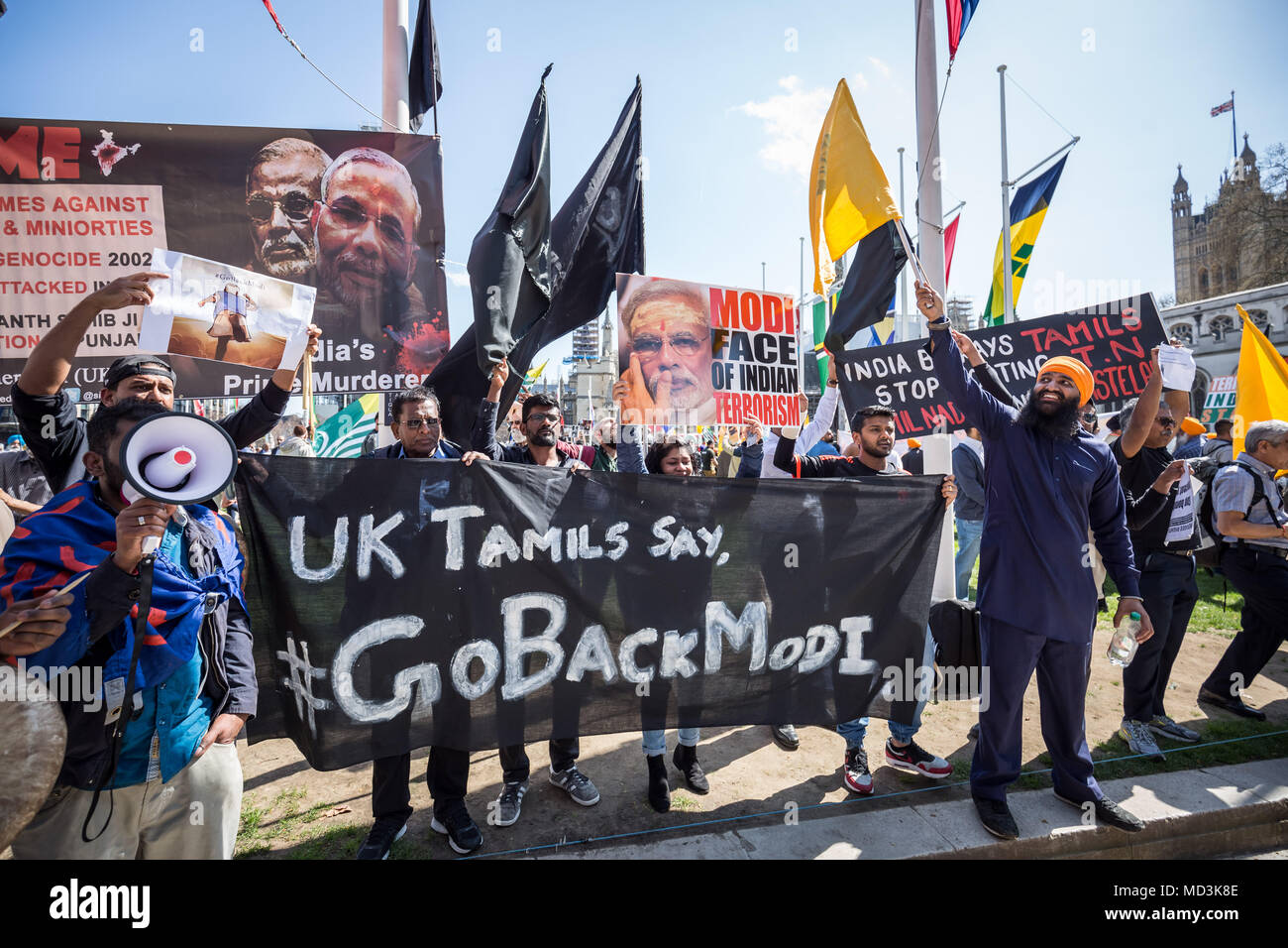 London, UK. 18th April, 2018. Mass Anti-Modi protests in Parliament Square against Narendra Modi, the current serving Prime Minister of India, who is visiting London as part of the Commonwealth Heads of Government summit. © Guy Corbishley/Alamy Live News - Stock Image