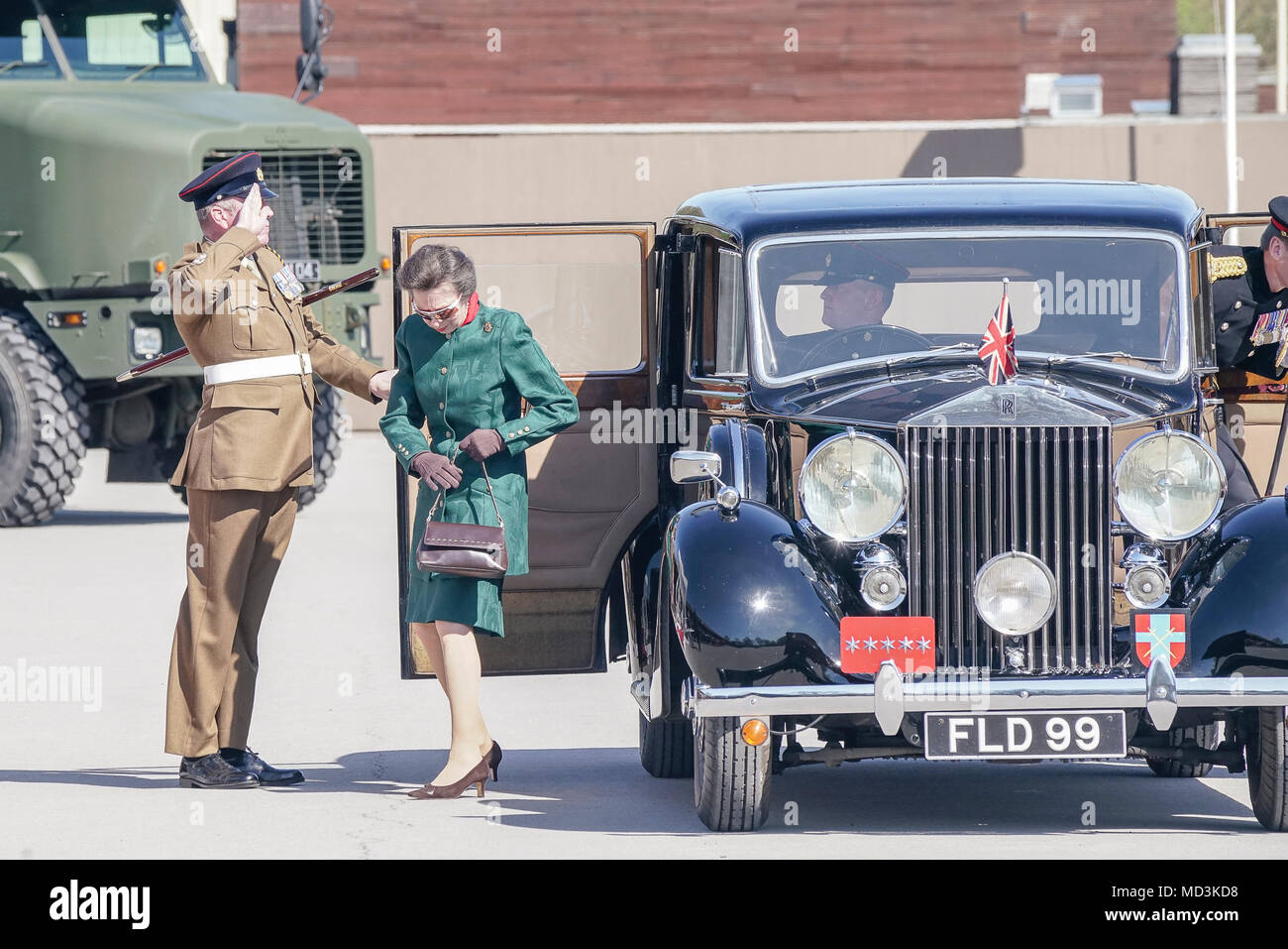 Greenwood Road, Pirbright. 18th April 2018. The 25th anniversary of the British Army's largest Corps, the Royal Logistic Corps held its anniversary parade this afternoon. Her Royal Highness the Princess Royal was the guest of honour for this historic occasion. Credit: james jagger/Alamy Live News - Stock Image