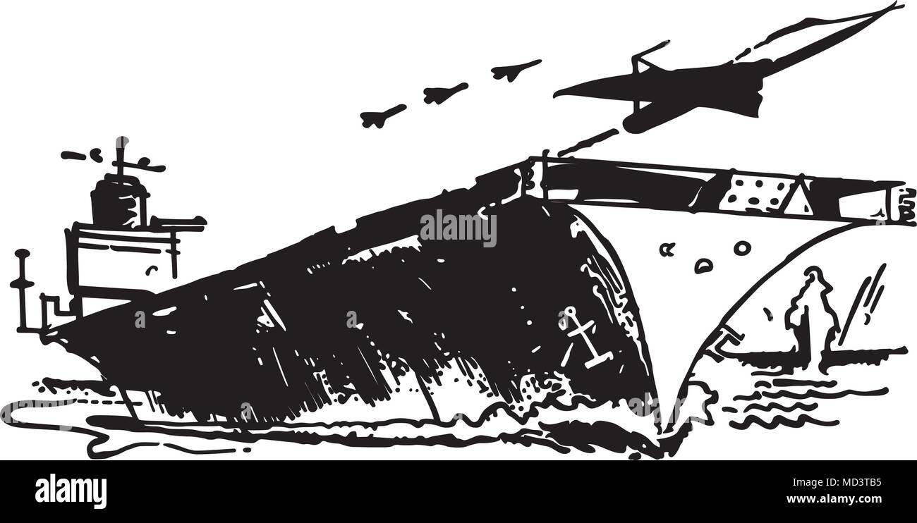 aircraft carrier retro clipart illustration stock vector art rh alamy com Us Aircraft Carriers Aircraft Carrier Clip Art Black and White