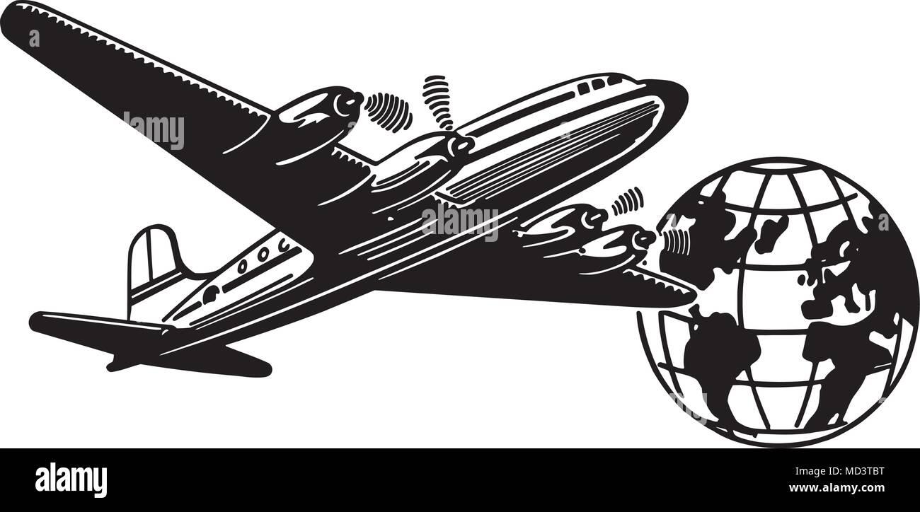 Airplane And Globe - Retro Clipart Illustration Stock ...