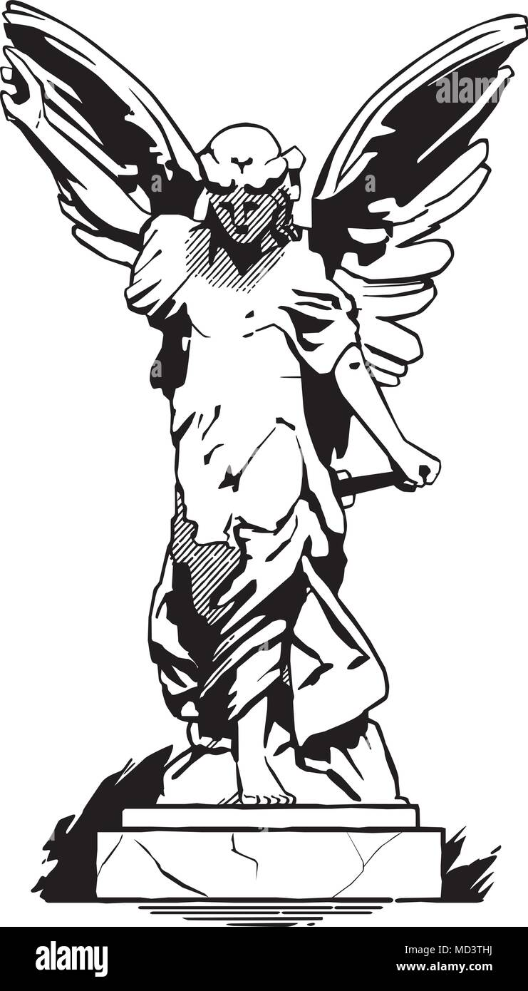 Dancing angels. black and white vector illustration.