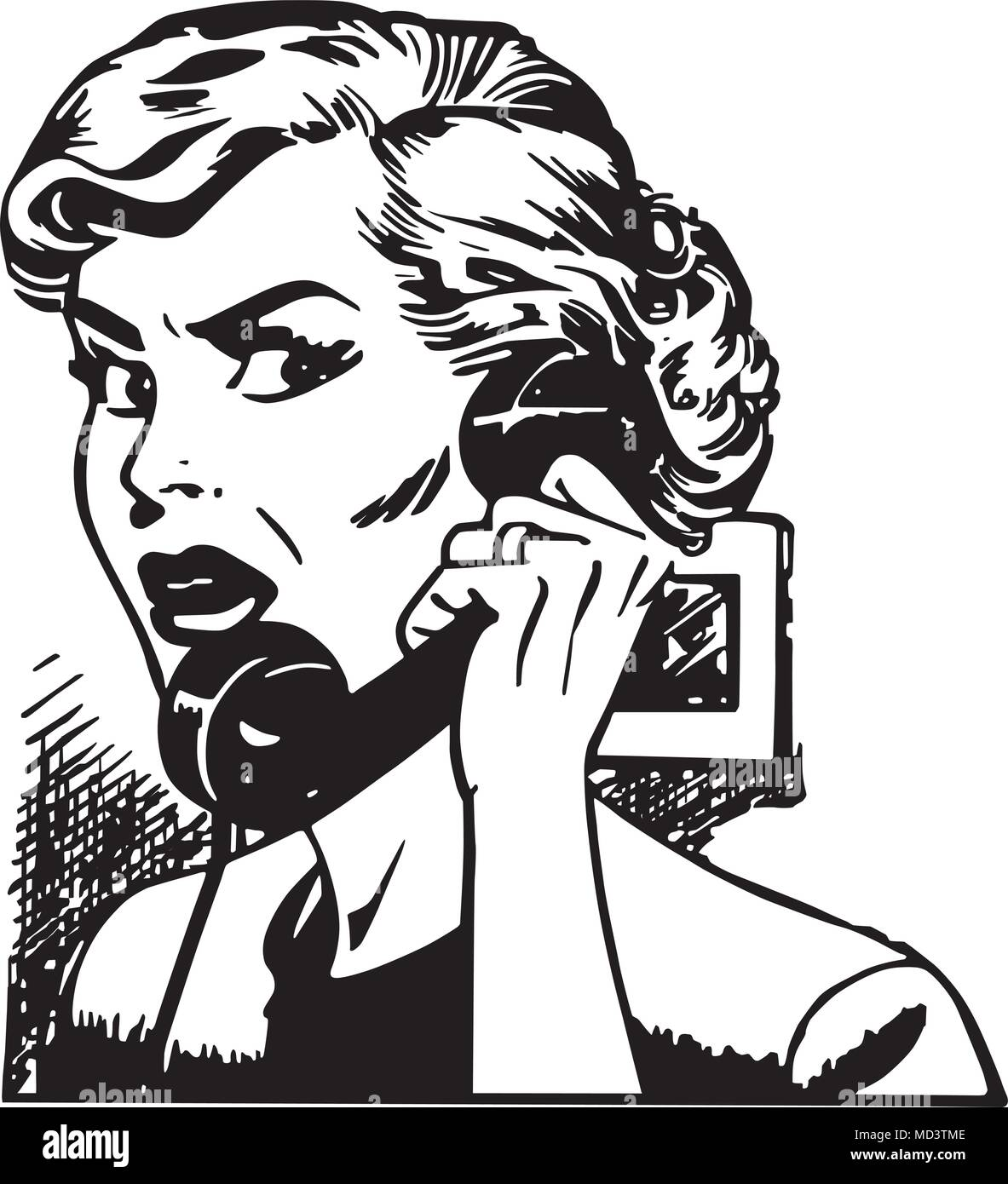 angry woman on phone retro clipart illustration stock vector art Retro Stage angry woman on phone retro clipart illustration