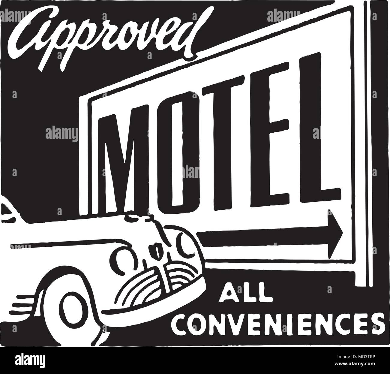 Approved Motel 2 - Retro Ad Art Banner - Stock Image