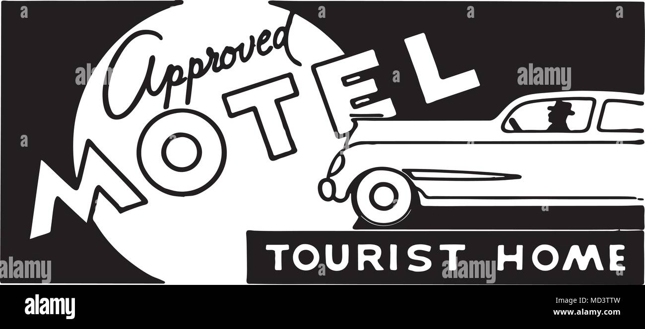 Approved Motel 5 - Retro Ad Art Banner - Stock Image