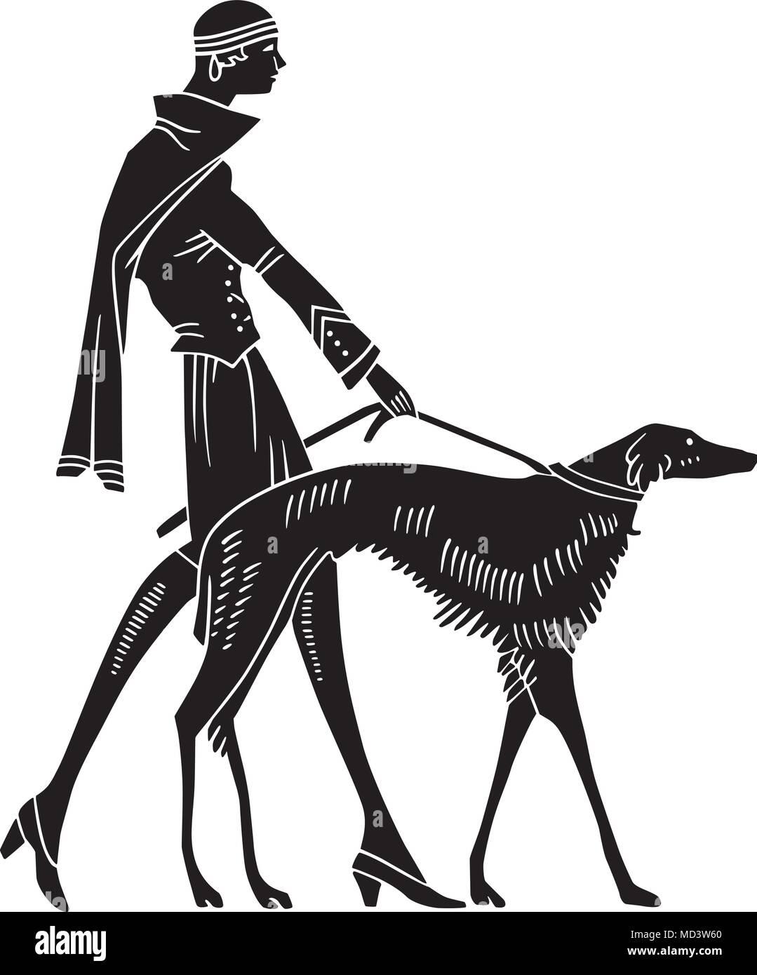 art deco woman with dog retro clipart illustration stock vector rh alamy com art deco frame clipart art deco clip art designs