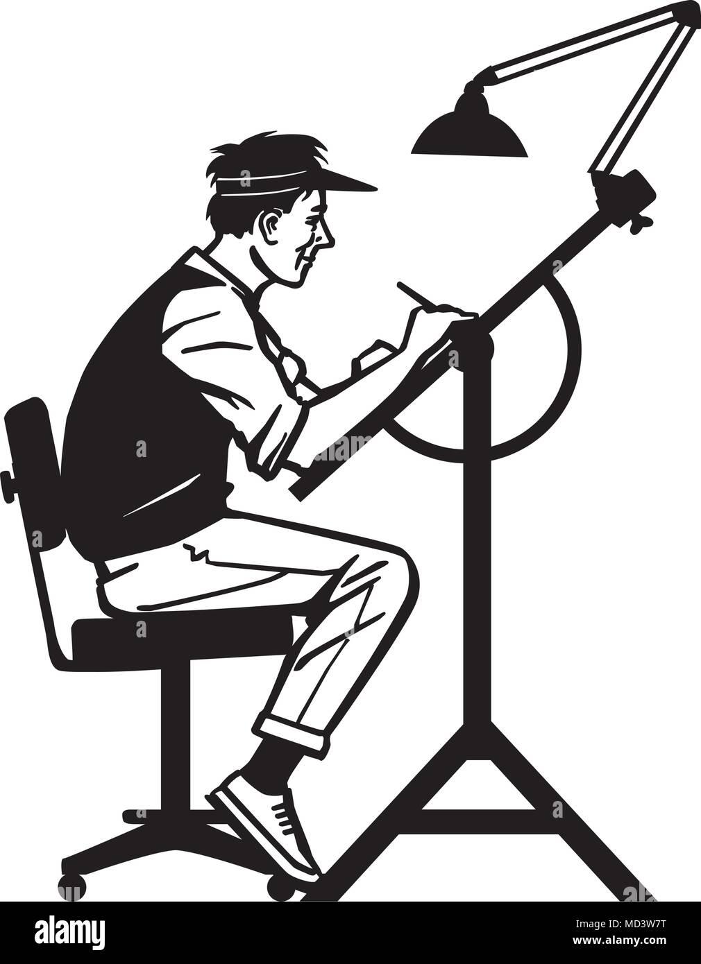 artist at work retro clipart illustration stock vector art