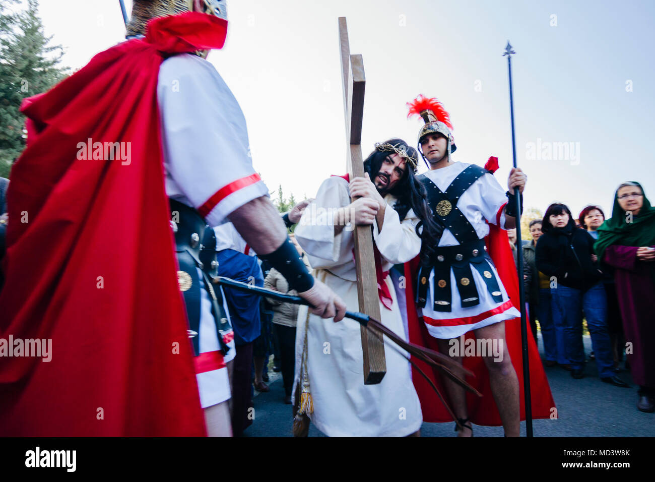 Living Via Crucis, re-enacting the Stations of the Cross during Holy Week-Semana Santa in Laujar de Andarax, Almeria province, Andalusia, Spain Stock Photo
