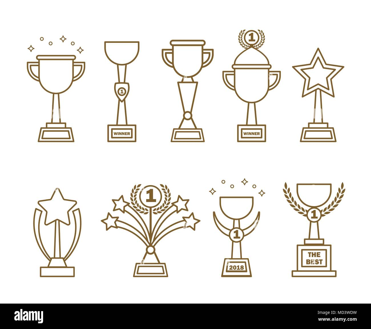 Icons awards cups set - Stock Image