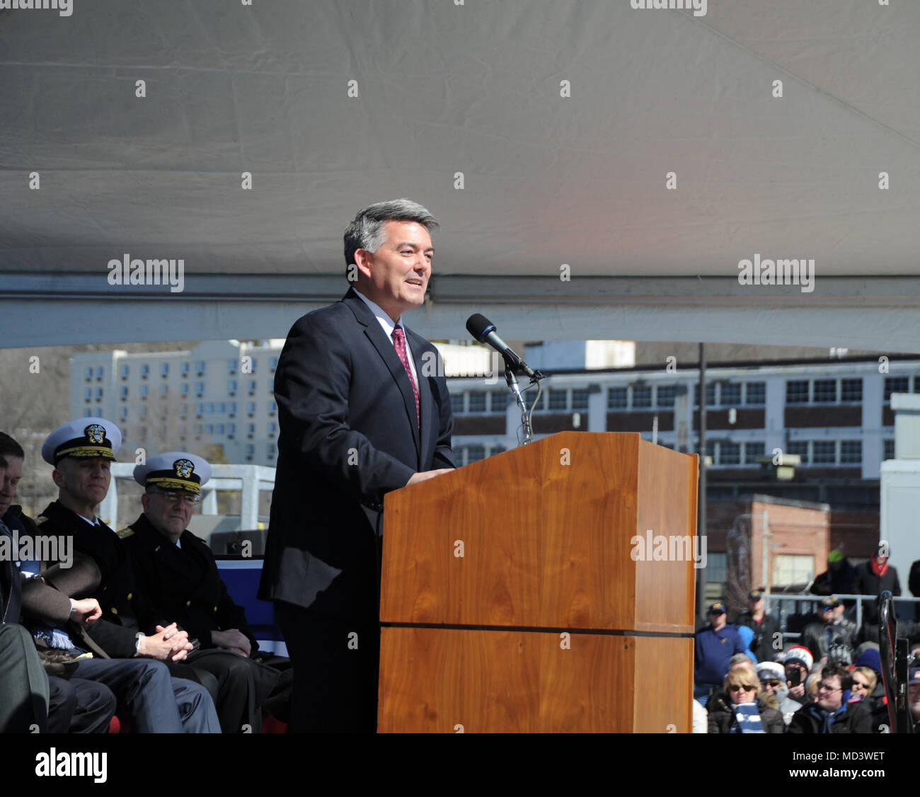 GROTON, Conn. (Mar. 17, 2018) The Honorable Cory S. Gardner, United States Senator, offers remarks at the commissioning ceremony for USS Colorado (SSN 788) on March 17, 2018. Colorado is the the U.S. Navy's 15th Virginia-class attack submarine and the fourth US Navy ship named for the State of Colorado.  (U.S. Navy photo by Chief Petty Officer Darryl I. Wood/Released) Stock Photo