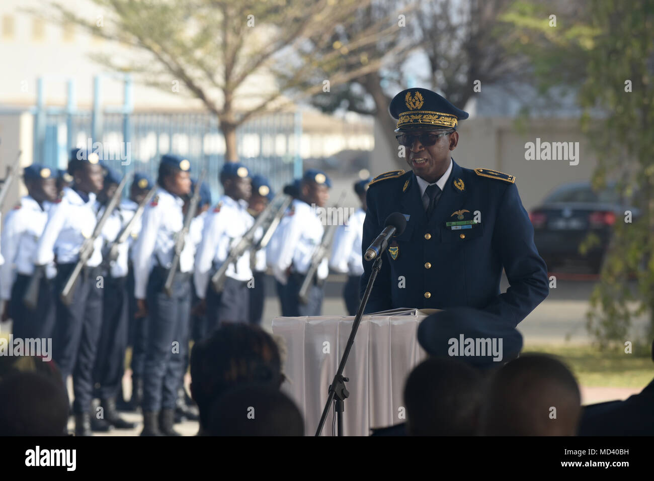 Senegalese Brig. Gen. Joseph Diop, Senegal air force Chief of Staff, speaks during the opening ceremony of African Partnership Flight Senegal at Captain Andalla Cissé Air Base, Senegal, March 19, 2018. The purpose of APF Senegal is to conduct multilateral, military-to-military engagements and security assistance with African air forces. (U.S. Air Force photo by Airman 1st Class Eli Chevalier) - Stock Image