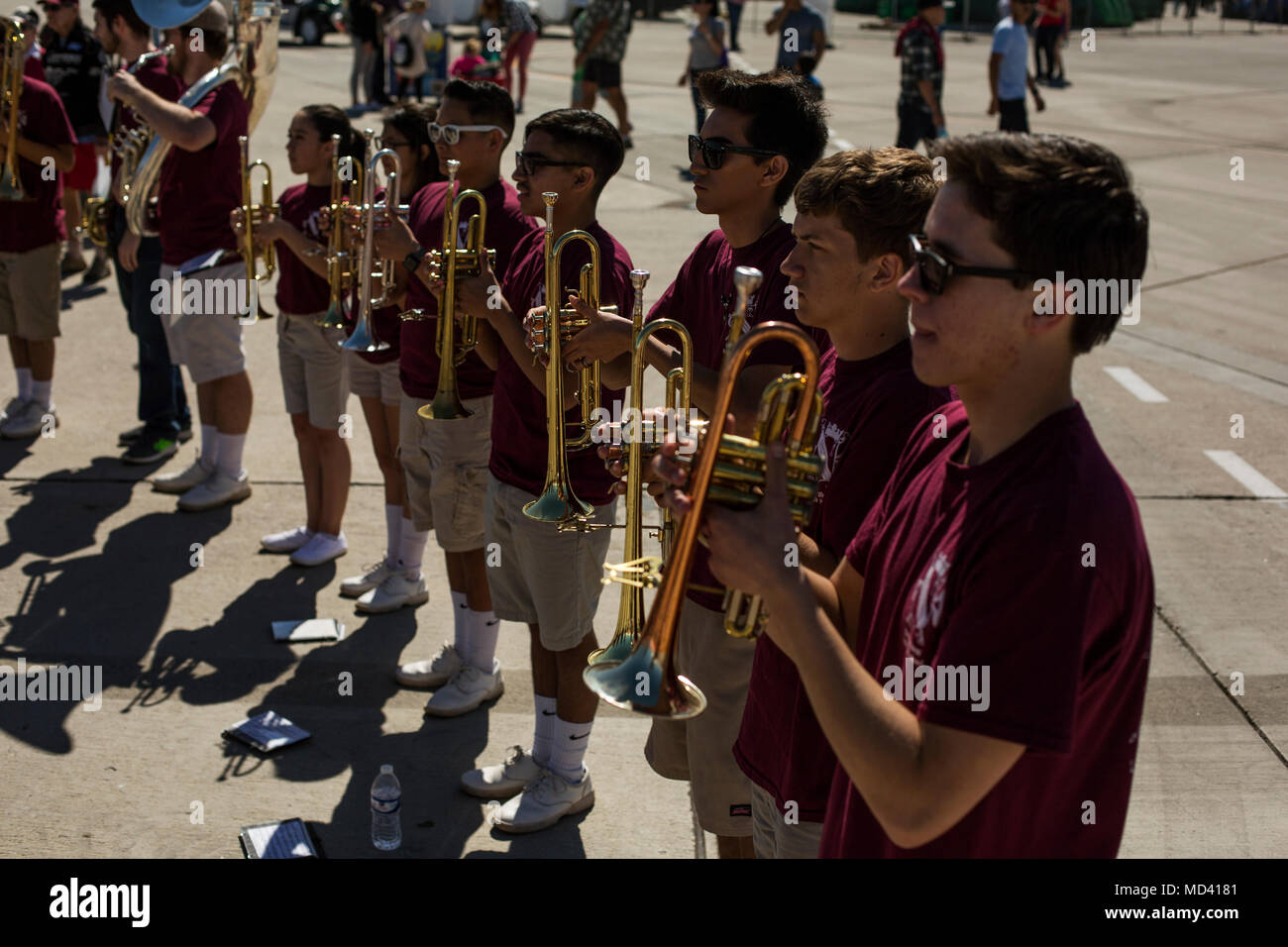 Students with the Kofa High School Marching Band perform