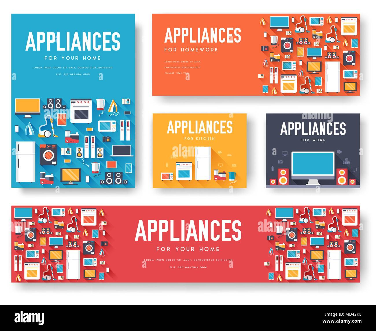 Home Appliances Cards Set Electronics Template Of Flyear Magazines