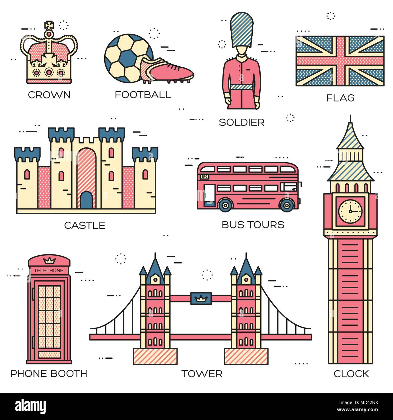Country England travel vacation guide of goods, places in thin lines style design. Set of architecture, people, sport, icons background concept. Infographics template for web and mobile on vector flat - Stock Image