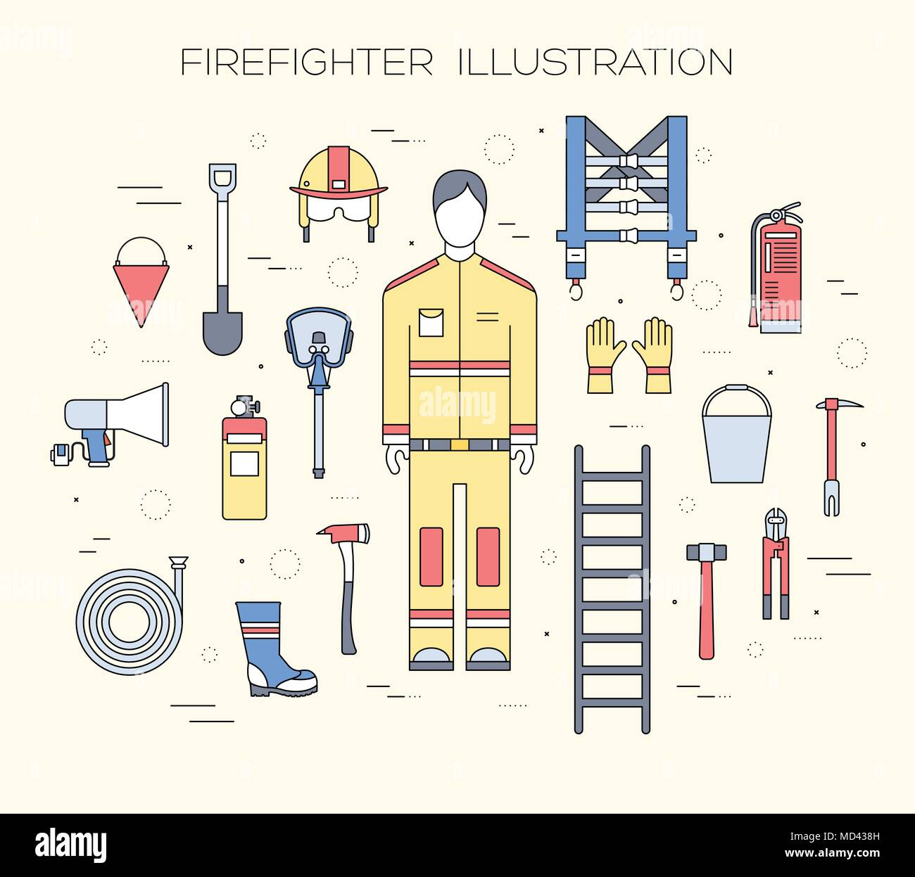 flat firefighter uniform and first help equipment set and