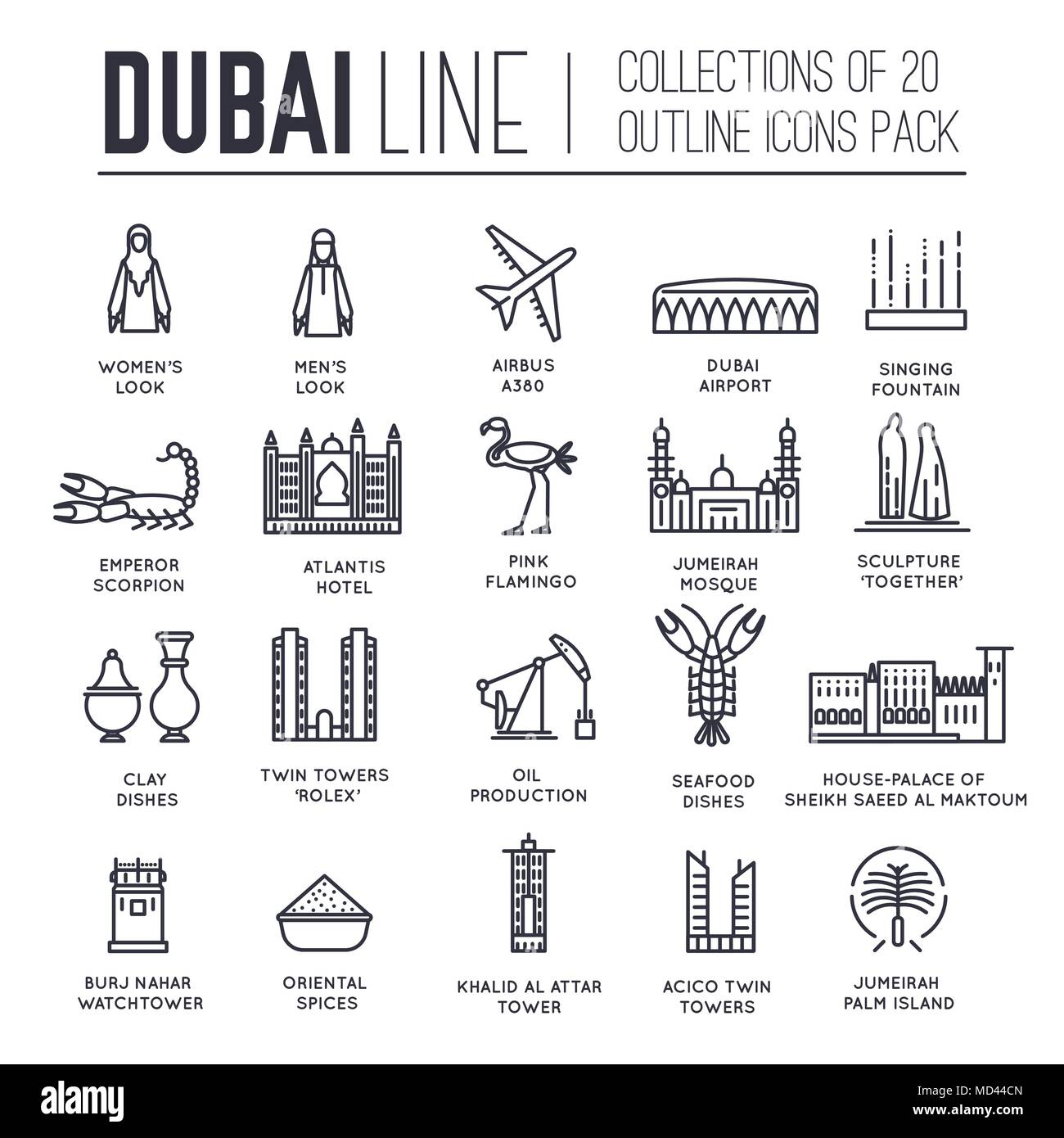 Country Dubai travel vacation guide of goods, place and feature  Set