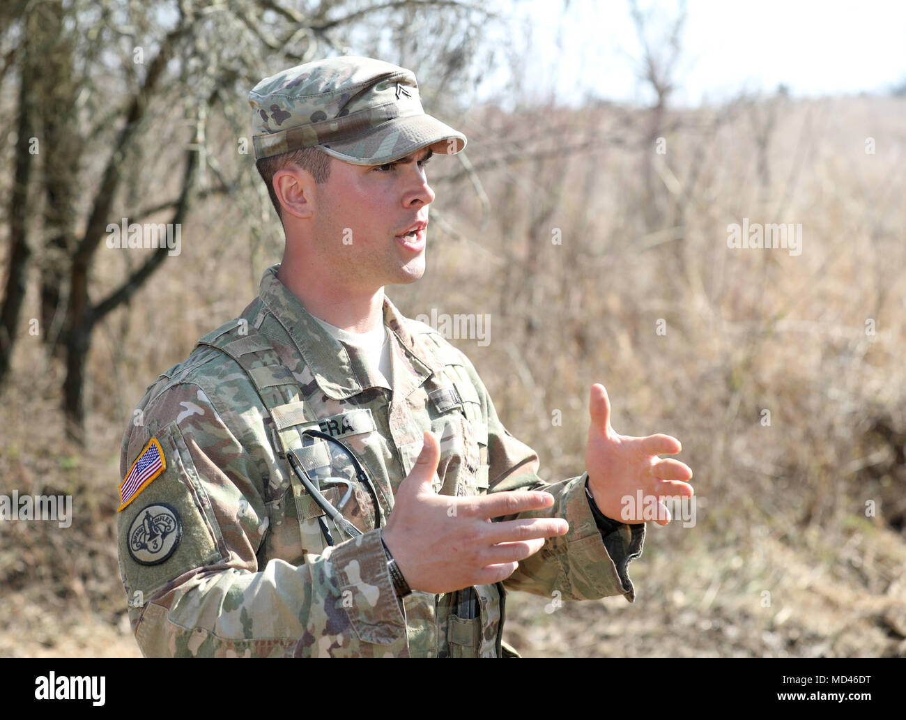 A US Army Soldier With The 78th Training Division Instructs Soldiers In Squad Tactics During Combat Support Exercise CSTX 78 18 03 At Fort