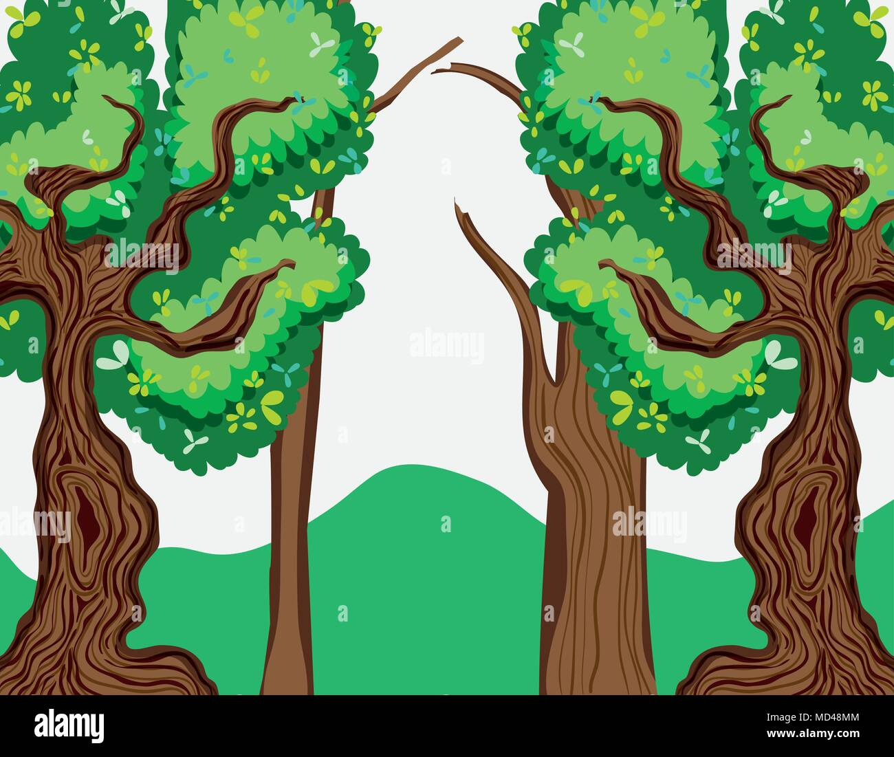 Beautiful forest scenery - Stock Vector