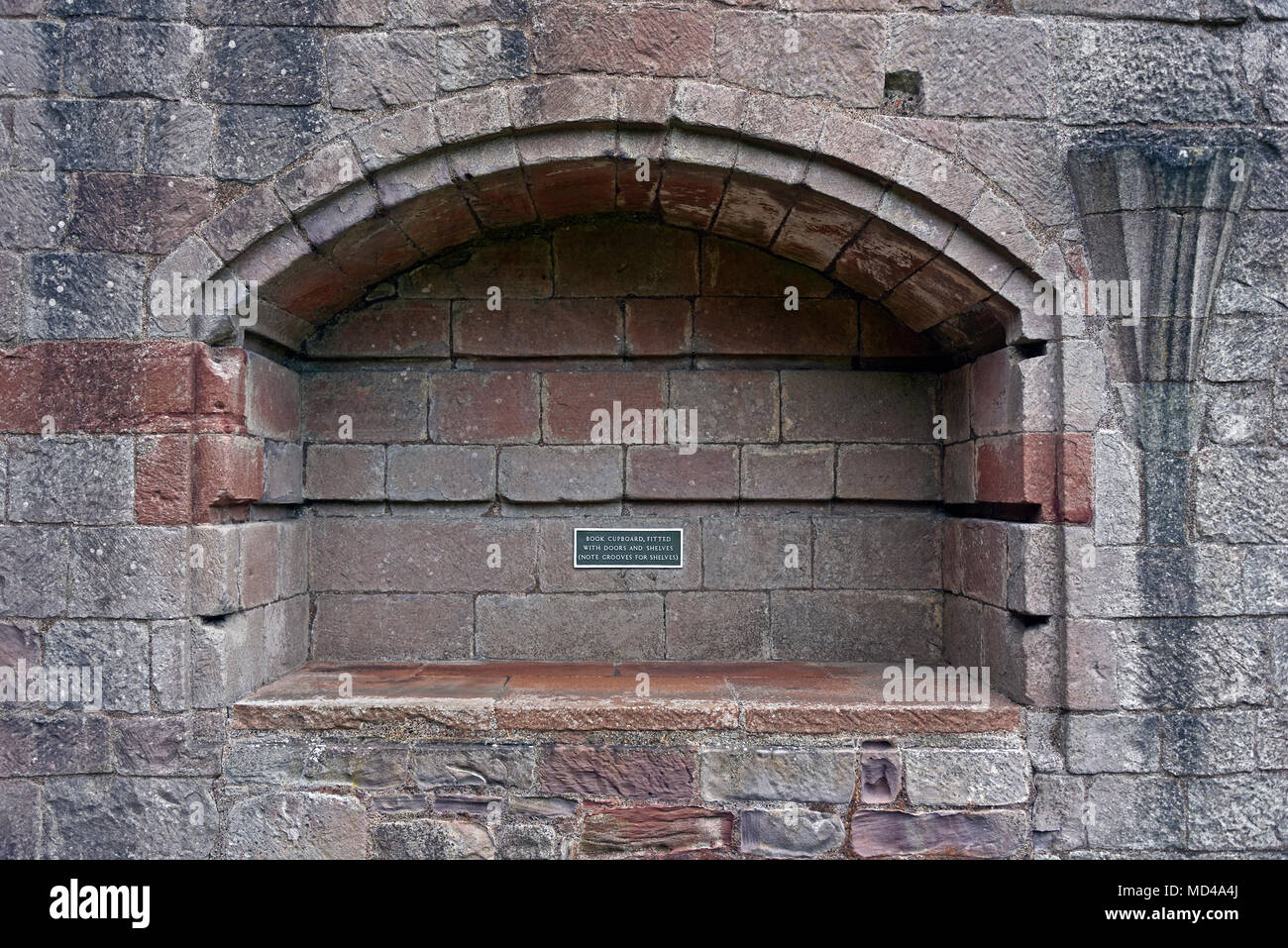 Detail of the Book Cupboard, which was fitted with doors and shelves. Dryburgh Abbey. Dryburgh, St.Boswells, Roxburghshire, Scottish Borders, Scotland - Stock Image