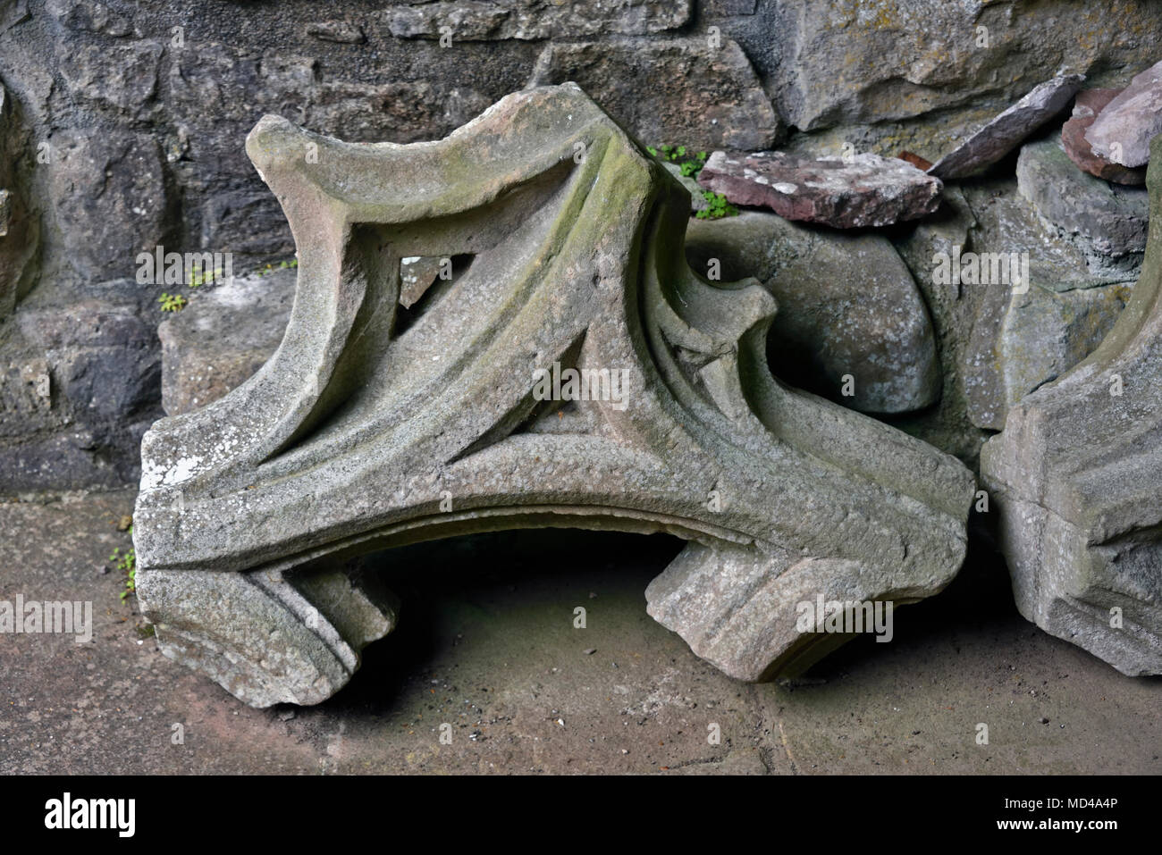 Stone fragments. Dryburgh Abbey. Dryburgh, St.Boswells, Roxburghshire, Scottish Borders, Scotland, United Kingdom, Europe. - Stock Image