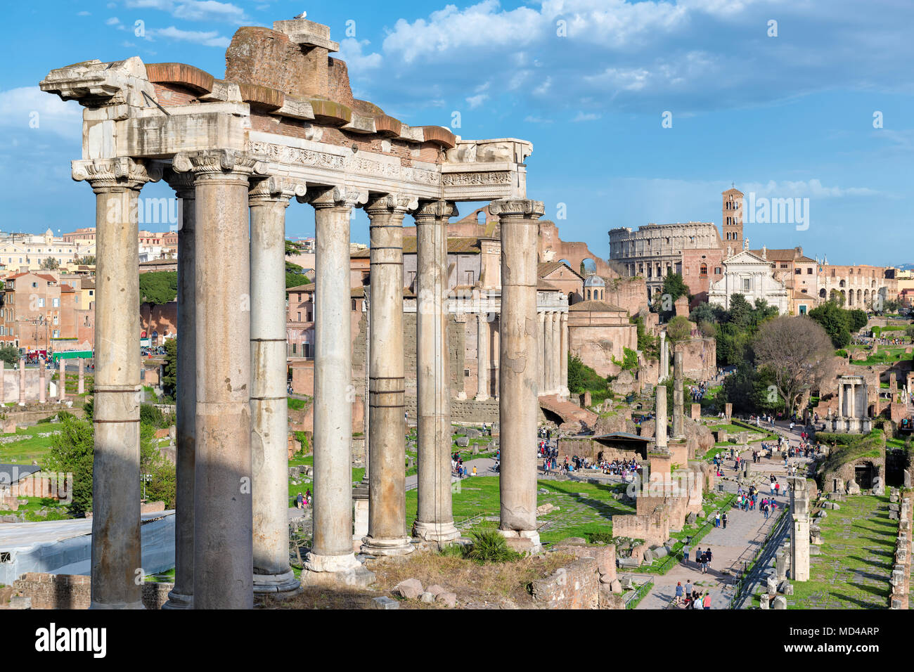 Roman Forum at Sunset in Rome, Italy. - Stock Image