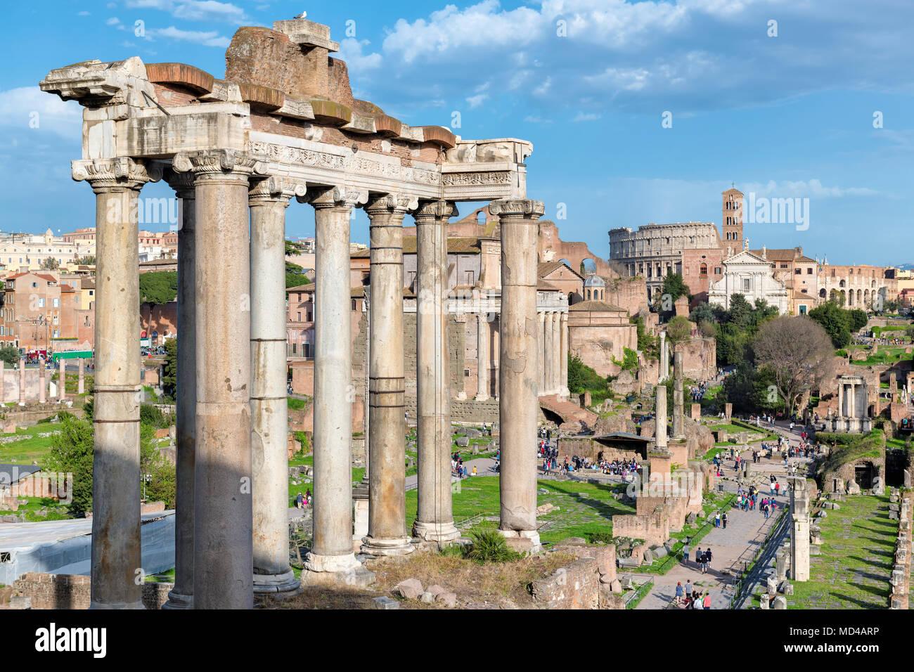 Roman Forum at Sunset in Rome, Italy. Stock Photo