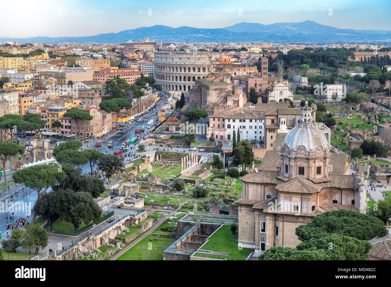 Rome skyline with Rome Colosseum and Roman Forum, Italy. - Stock Image