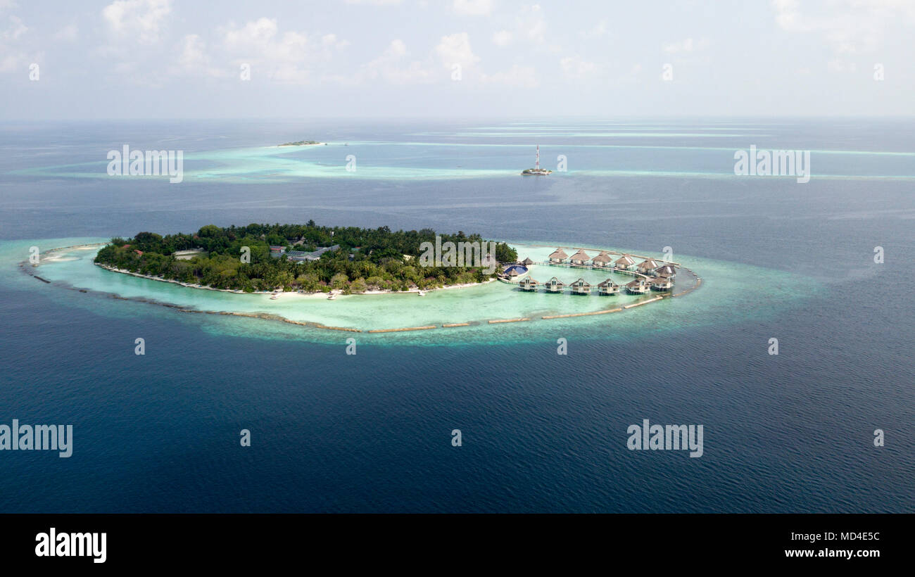 Maledives Atoll taken from above with a Drone - Stock Image