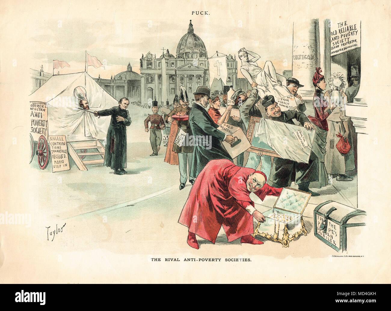 Father Edward McGlynn,  satirical Puck cartoon of 1888 - Stock Image