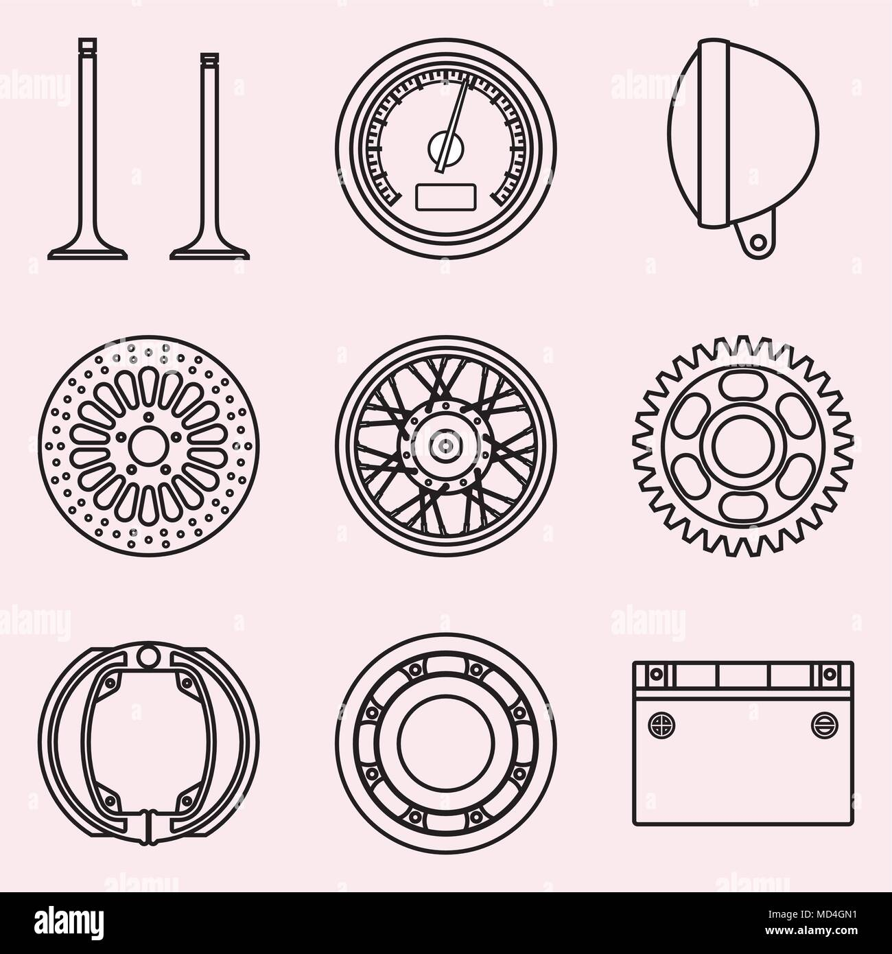 Motorcycle Parts And Accessories Vector Thin Line Stock Vector Art