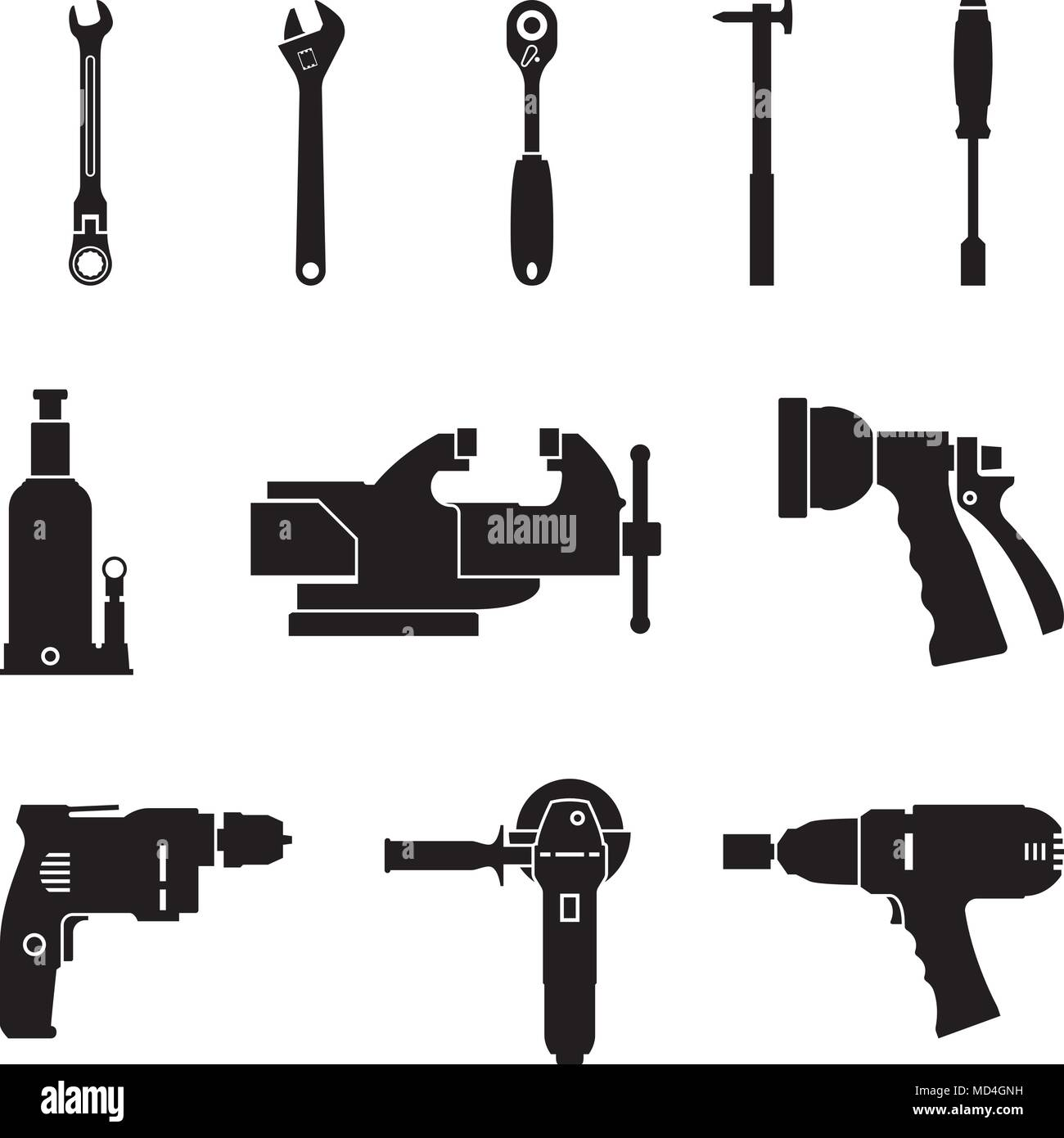Power tools and hand tool for repairing and manufacturing. Silhouette vector - Stock Vector